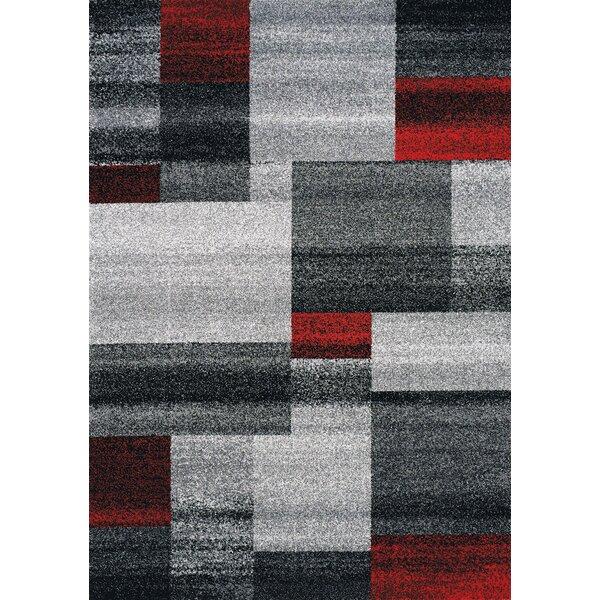 Eleanor Blocks Gray/Red Area Rug by Orren Ellis