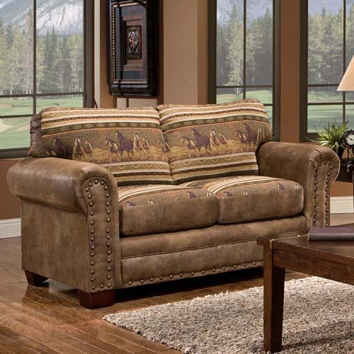 Lodge Wild Horses Loveseat by American Furniture Classics