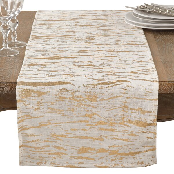 Aldgate Distressed Foil Metallic Glitzy Cotton Table Runner by Everly Quinn