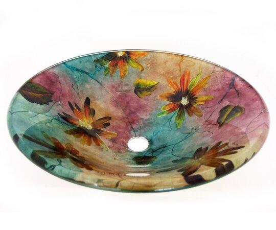 Spring Flowers Glass Circular Vessel Bathroom Sink by Legion Furniture