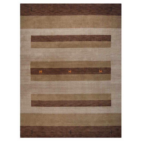 Kala Hand-Knotted Wool Brown/Beige Area Rug by World Menagerie