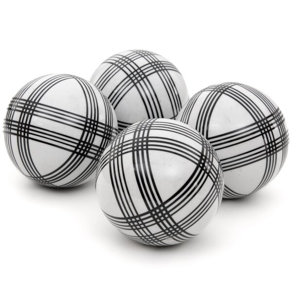 Banas 4 Piece Sophisticated Stripes Decorative Ball Sculpture Set by Three Posts