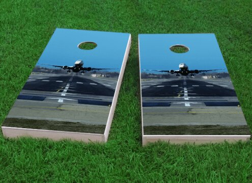 Passenger Jet Taking Off Cornhole Game (Set of 2) by Custom Cornhole Boards