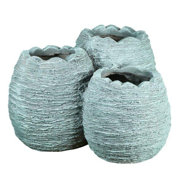 Cronk Textured 3-Piece Composite Pot Planter Set by World Menagerie