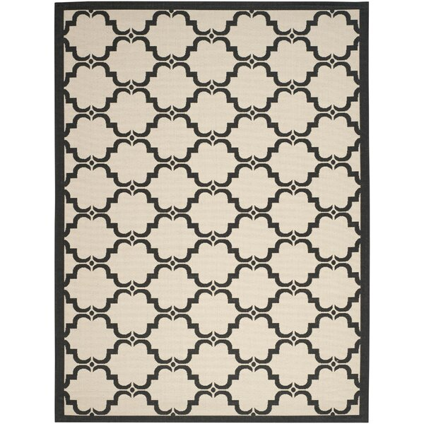 Pogue Tile Beige/Black Indoor/Outdoor Area Rug by Charlton Home