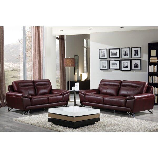 Riche Leather Living Room Set (Set of 11) by Orren Ellis