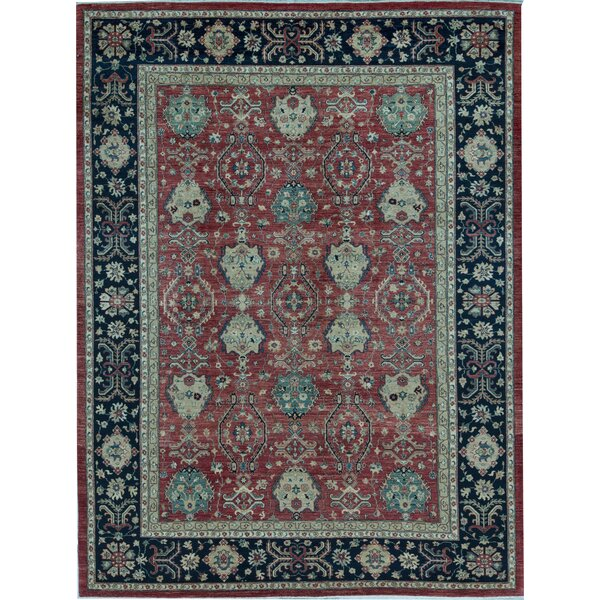 Sultanabad Oriental Hand-Knotted Wool Red/Blue Area Rug