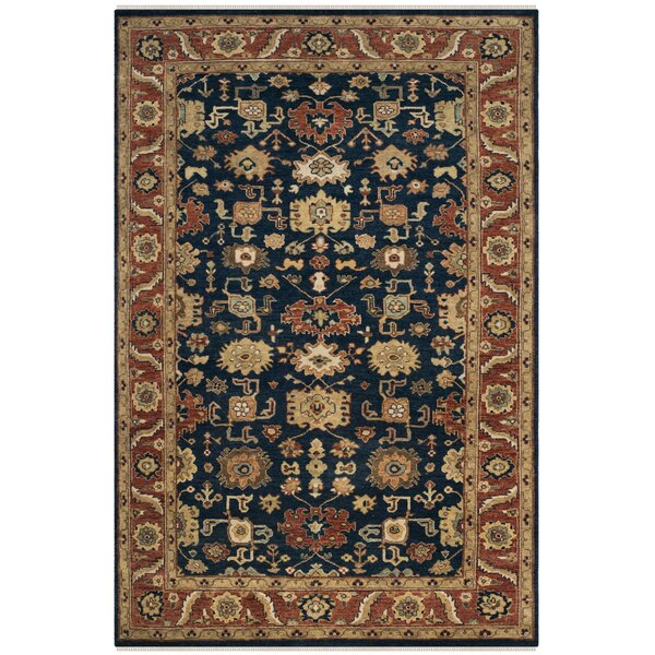 Larkson Hand-Knotted Navy Area Rug by Bloomsbury Market