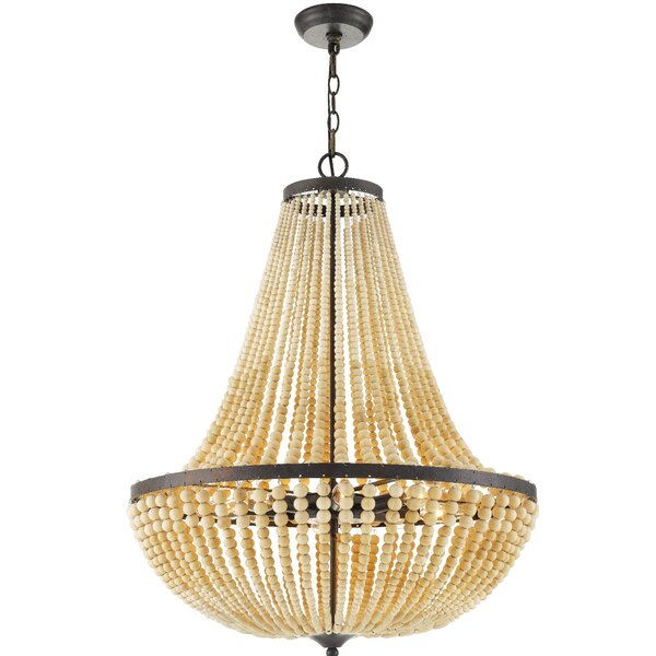 Quintana 8 - Light Unique / Statement Empire Chandelier With Wood Accents By Bungalow Rose