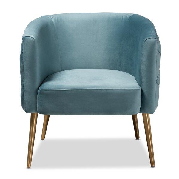 Whiteside Glam and Luxe Velvet Fabric Upholstered Armchair by Mercer41
