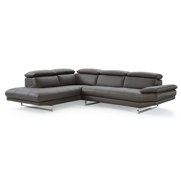 Review Gridley Leather Left Hand Facing Sectional