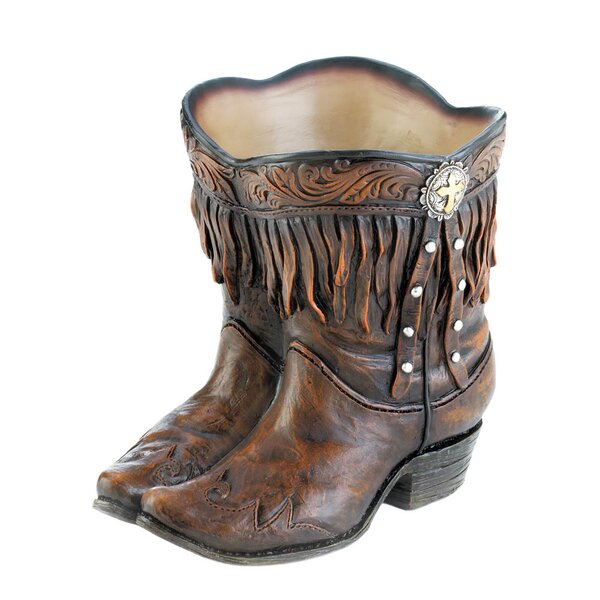 Fringed Cowboy Boot Polyresin Pot Planter by Zingz & Thingz