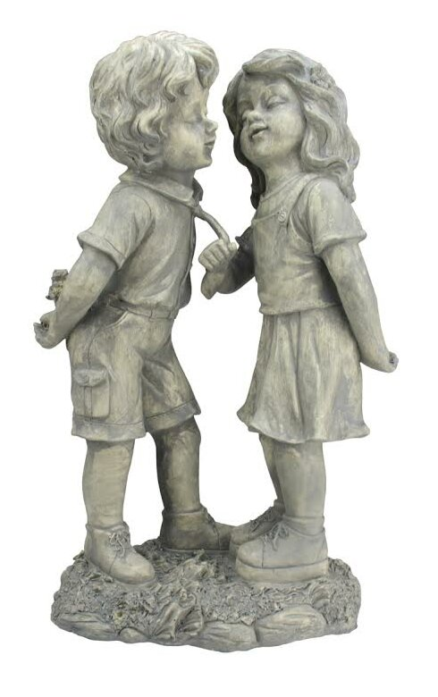 Delicieux Stone Boy And Girl First Kiss Garden Statue