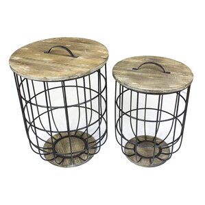 Woodbridge 2 Piece Metal and Wood Barrel Storage End Table Set by Gracie O..