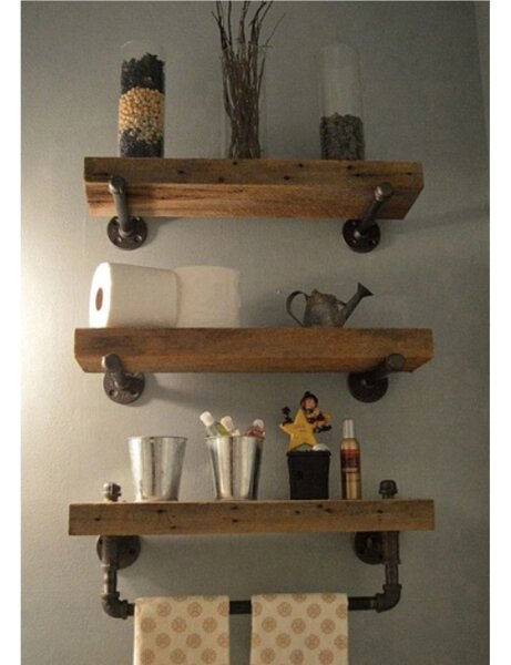 Borrero Industrial Pipe Accent Wall Shelf by Trent