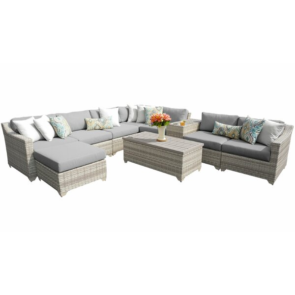 Falmouth 10 Piece Rattan Sectional Seating Group with Cushions by Sol 72 Outdoor Sol 72 Outdoor