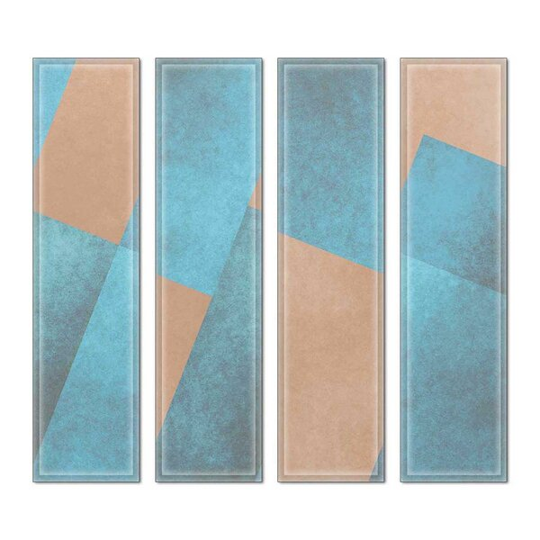 Custom 3 x 12 Beveled Glass Subway Tile in Blue/Brown by Upscale Designs by EMA
