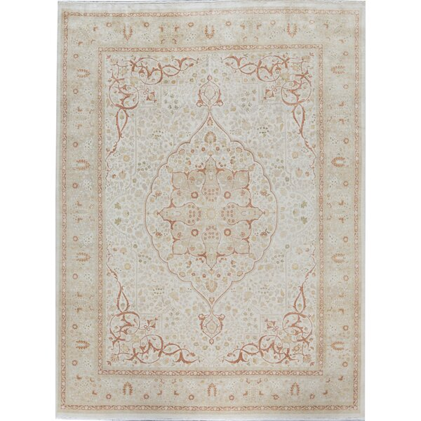 Oriental Hand-Knotted Wool Cream Area Rug