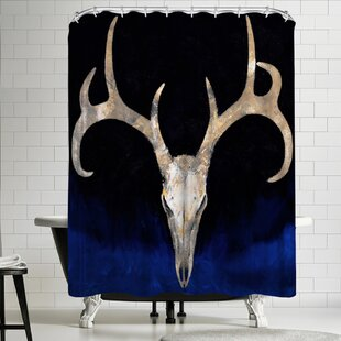 Best Reviews Michael Creese Deer Skull Shower Curtain By East Urban Home