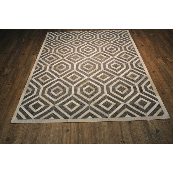 One-of-a-Kind Knopf Hand-Woven Cowhide Gray/Beige Area Rug by Everly Quinn