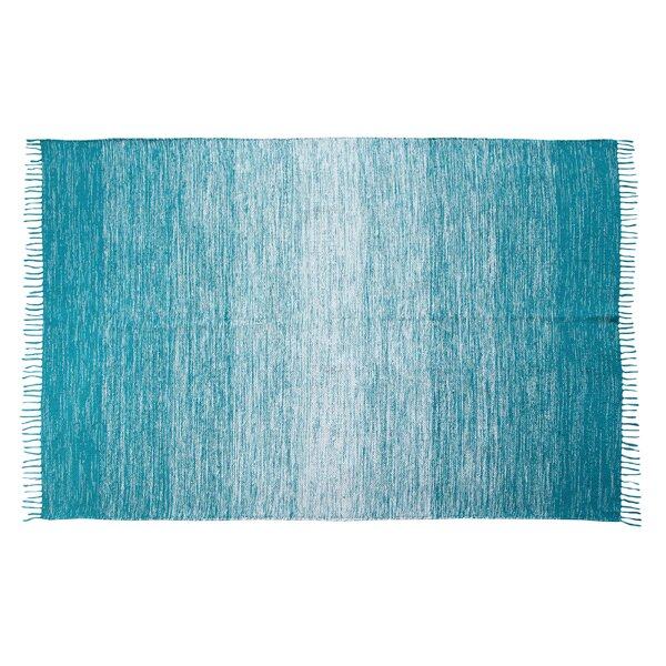 Arteaga Ombre Fringe Cotton Hand-Woven Blue Area Rug by Harriet Bee