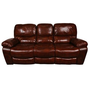 Carraton Modern Leather Reclining Sofa Three Posts