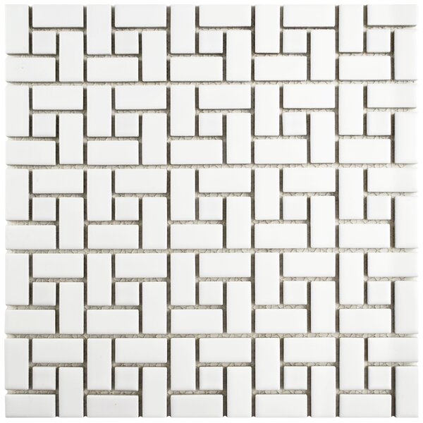 Retro Spiral 12.5 x 12.5 Porcelain Mosaic Floor and Wall Tile in Matte White and Glossy White by EliteTile