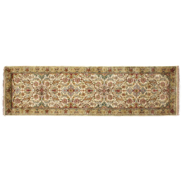 European Polonaise Hand-Knotted Wool Cream/Spruce/Brown Area Rug by Exquisite Rugs