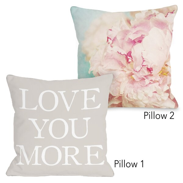 Aldridge Delicate Peony and Love You More Oatmeal 2 Piece Throw Pillow Set by House of Hampton