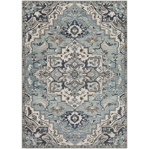 Alley Floral Gray/Teal Area Rug by House of Hampton