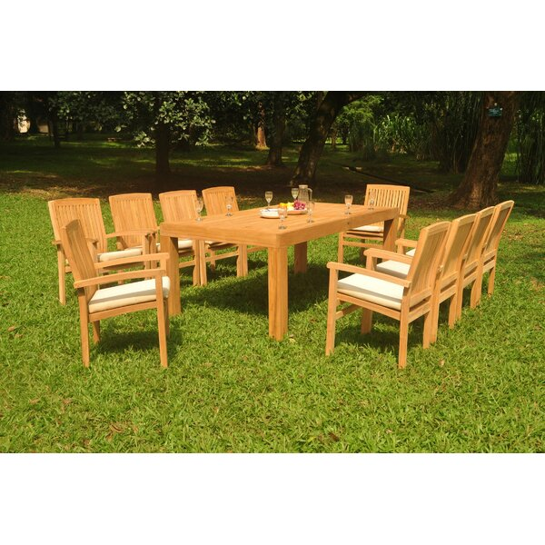 Doric 11 Piece Teak Dining Set by Rosecliff Heights