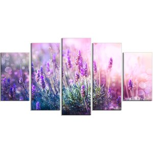 'Growing and Blooming Lavender' 5 Piece Wall Art on Wrapped Canvas Set by Design Art
