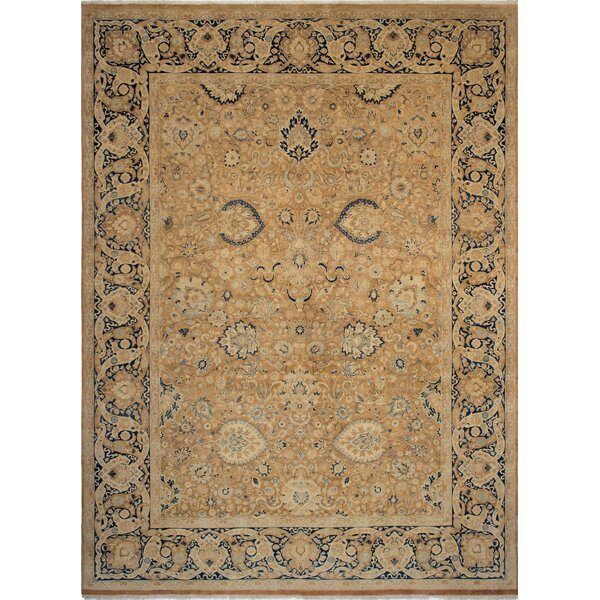 Maly Vegetable-Dyed Hand-Knotted Wool Brown/Navy Area Rug by Astoria Grand