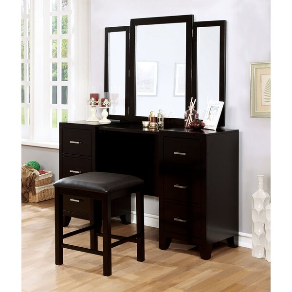 Marini Vanity with Mirror and Stool by Red Barrel Studio Red Barrel Studio