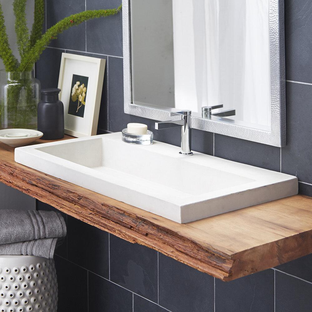 Native Trails Trough Stone Rectangular Drop-In Bathroom Sink | Wayfair