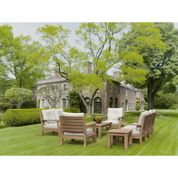 Gatsby 10 Piece Teak Sofa Seating Group with Sunbrella Cushions by Rosecliff Heights