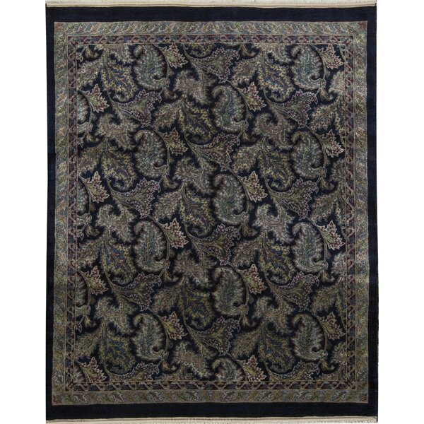 One-of-a-Kind Chantel Hand-Knotted Black/Dark Ivory 7'11 x 9'10 Area Rug