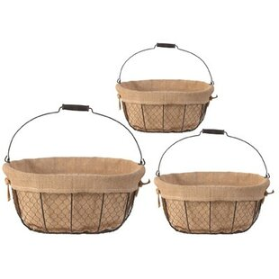 Wire basket table wayfair 3 piece wire basket set greentooth Image collections