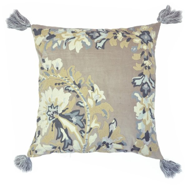 Embroidered Chain Stitch Floral Throw Pillow with Tassels by The Balmont Collection