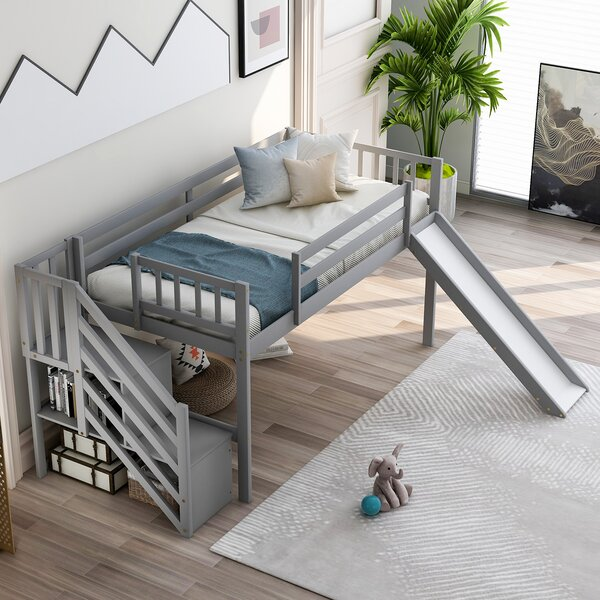 Mitcheldean Twin Low Loft Bed with Shelves by Isabelle & Max Isabelle & Max™