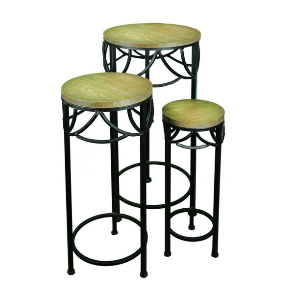 3 Piece Metal/Wood Planter Stand Set by Benzara
