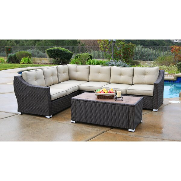 Lanclos 5 Piece Sectional Seating Group with Cushions by Alcott Hill Alcott Hill