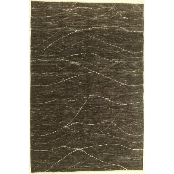 One-of-a-Kind Cormier Hand-Knotted Wool Black Area Rug by Isabelline