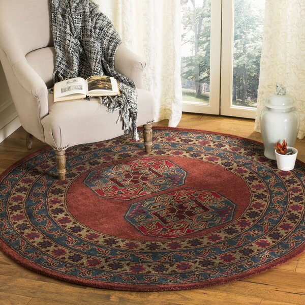 Moss Hand Tufted Wool Red Area Rug by Bloomsbury Market