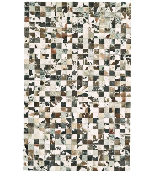 Alysa Hand-Stitched Brown/Gray Leather Area Rug by 17 Stories