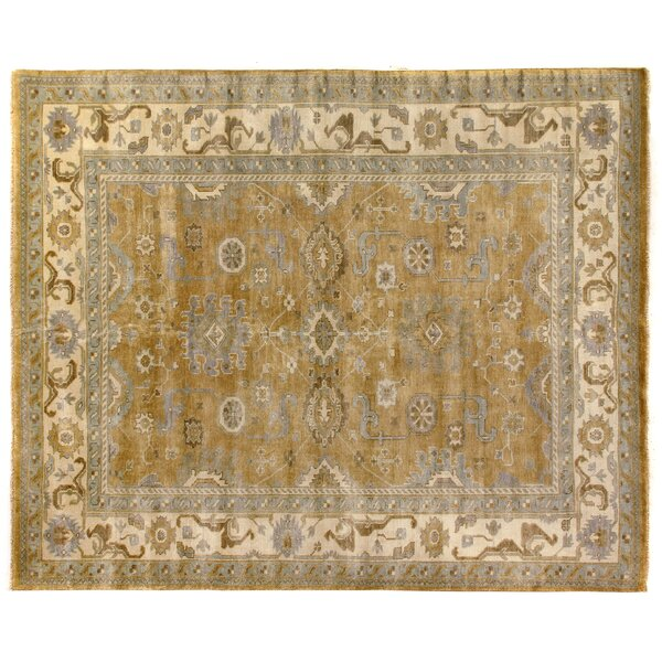 Oushak Hand-Knotted Wool Yellow/Ivory Area Rug by Exquisite Rugs