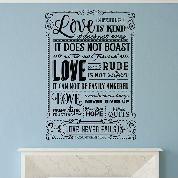 Hanley Love Is Patient Love Is Kind Bible Verse Wall Decal by Winston Porter