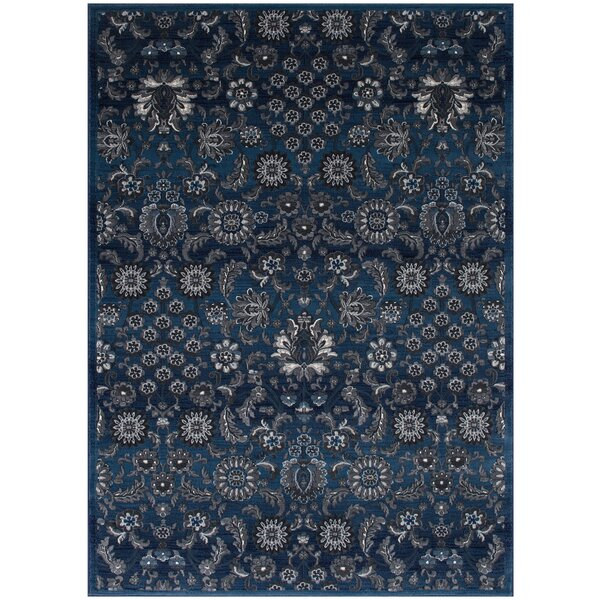 Gibbs Floral Thunder Blue Area Rug by Bungalow Rose