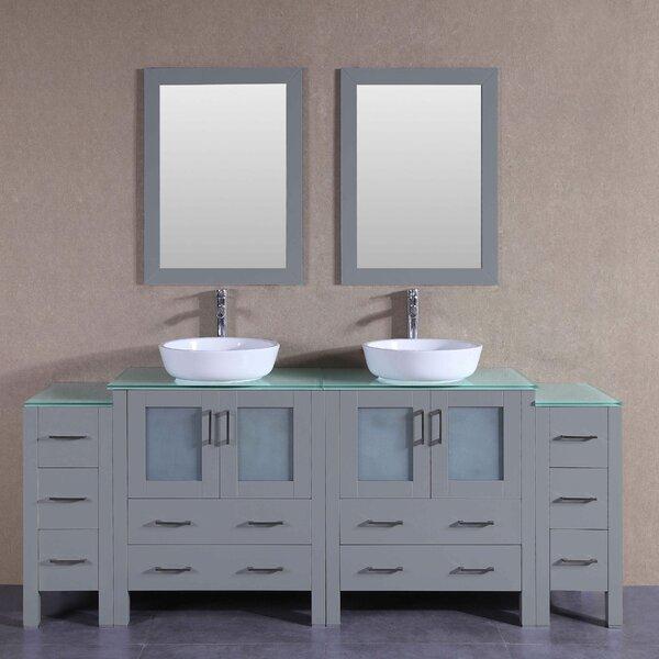 Stoughton 84 Double Bathroom Vanity Set with Mirror by Bosconi