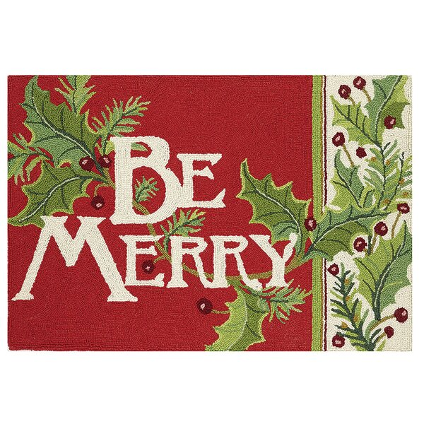 Masten Be Merry Hand-Hooked Wool Green/Red Area Rug by The Holiday Aisle